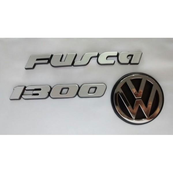 Kit Emblemas Fusca 1300 Cinza Moderno