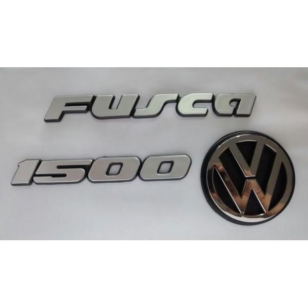 Kit Emblemas Fusca 1500 Cinza Moderno
