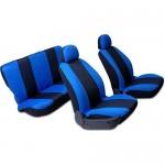Capa Banco Baixo Universal Azul/Preto Kit 6 pç